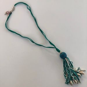 Jewelry - Beach Chic Teal and Shell Tassel Necklace